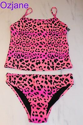 Girls Tankini Bikini Pink Leopard Print Swimming Costume Sizes 12 To