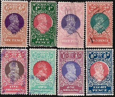 AUSTRALIA NEW SOUTH WALES ca 1900 STAMP DUTY REVENUE STAMPS X8 USED