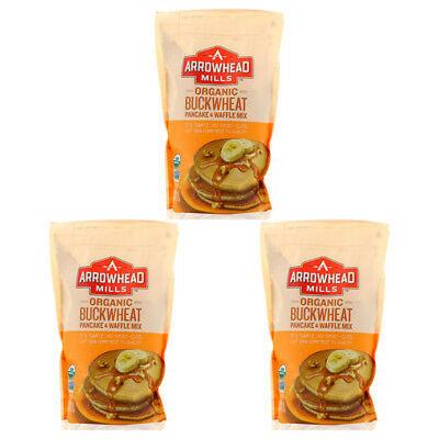 3X Arrowhead Mills Natural Organic Buckwheat Pancake & Waffle Mix Fiber Food