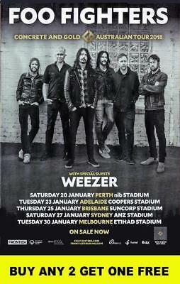 FOO FIGHTERS / WEEZER 2018 Laminated Australian Tour Poster