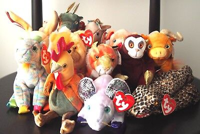 """Ty Beanie Babies x12 Chinese """"Zodiac"""" Complete Set RARE - Mint Cond."""