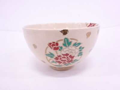 90915# Japanese Tea Ceremony Kyo Ware Tea Bowl / Flower & Plant Chawan
