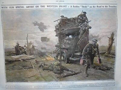 WW1 LODON BUSES AT THE FRONT   Hand coloured military print jack mummery