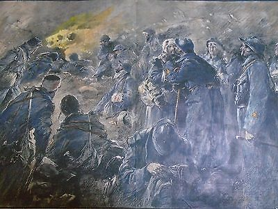 VERDUN  THE LAST OF FORT VAUX Hand  coloured military print jack mummery