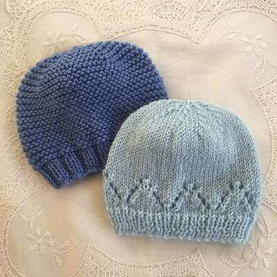 * 2 Premature (5lb) * Baby Beanies  * Blue & Pale Blue * Aust Hand Knitted *