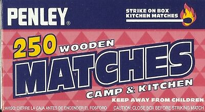 1 Box 250 PENLEY STRIKE ON BOX Large wood Kitchen MATCHES Red Tip wooden Match