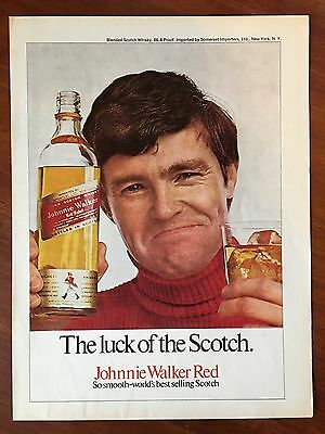 Vintage 1970 Original Print Ad JOHNNIE WALKER RED ~Luck of the Scotch~