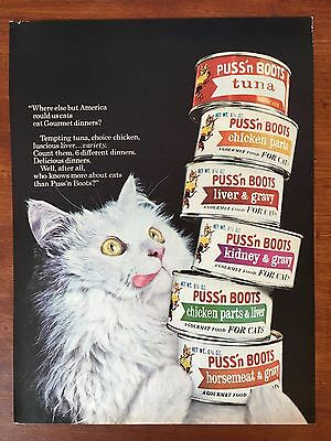 Vintage 1965 Original Print Magazine Ad PUSS'N BOOTS Gourmet Canned Cat Food