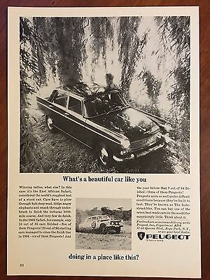 Vintage 1964 Original Print Ad PEUGEOT ~What's a Beautiful Car Like You Doing~