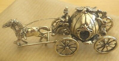 Miniature Silver  Horse And Carriage