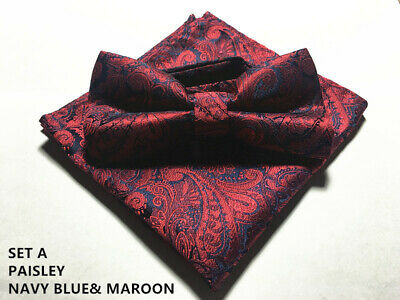 MENS BOW TIE + POCKET SQUARE SET  Handkerchief Wedding Party RED BLACK PAISLEY