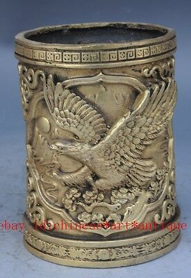 COLLECTIBLE CHINESE BRASS HANDMADE CARVED EAGLE BRUSH POT e01