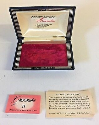 Vintage Hamilton Automatic Wrist Watch Box ONLY Clam Shell Guarantee Paper WOW