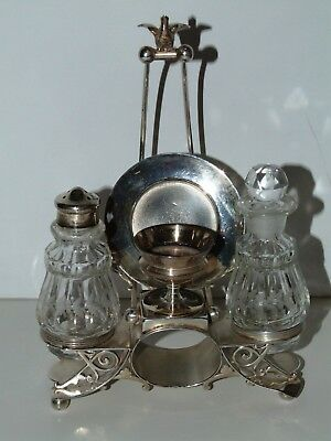 Lovely Victorian Condiment Set Silver Plate W/ Napkin Ring