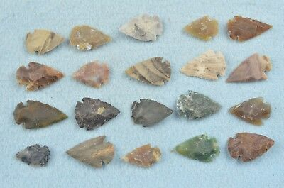 """20 PC Flint Arrowhead Ohio Collection Points 1"""" Spear Bow Knife Hunting Blade"""