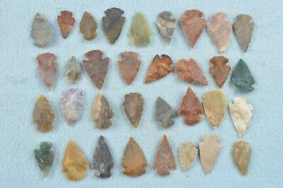 """33 PC Flint Arrowhead Ohio Collection Points 1"""" Spear Bow Knife Hunting Blade"""