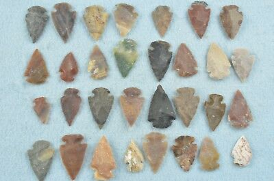 """31 PC Flint Arrowhead Ohio Collection Points 1"""" Spear Bow Knife Hunting Blade"""