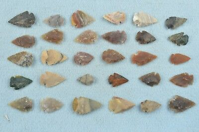 """30 PC Flint Arrowhead Ohio Collection Points 1"""" Spear Bow Knife Hunting Blade"""