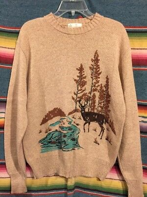 Vintage 60's / 70's Sears Kings Road Crew Neck Silkscreened Sweater Size XL NOS
