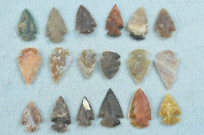 """18 PC Flint Arrowhead Ohio Collection Points 1"""" Spear Bow Knife Hunting Blade"""