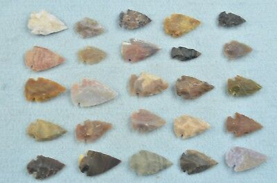 """25 PC Flint Arrowhead Ohio Collection Points 1"""" Spear Bow Knife Hunting Blade"""