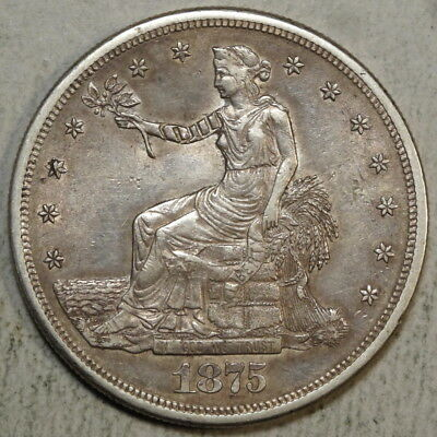 1875-S Trade Dollar, Almost Uncirculated, Two Chop Marks    0311-02