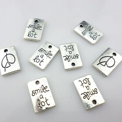 12/24pcs Tibetan Silver Rectangle Letters smile a lot Charms Pendant 10x15mm