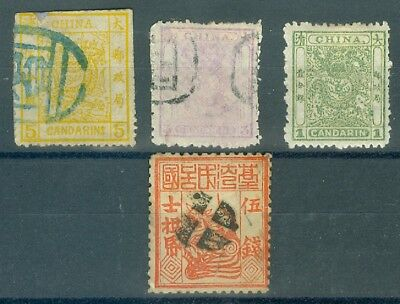 1875/85, China lot 4 stamps, small / large Dragon up to 5 Candarin, used/mh (31)