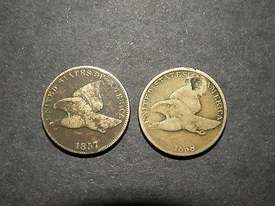 Flying Eagle Cents 1857 1858 US Antique Pre Civil War Copper Coin Lot American