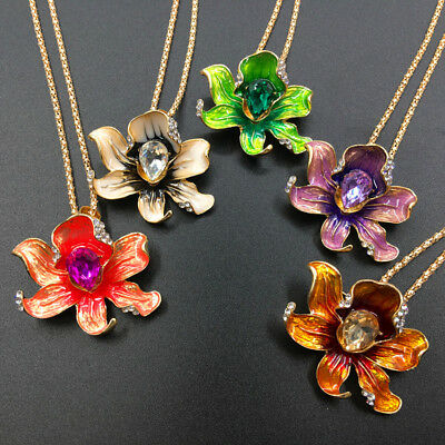 Gold Plated Enamel Crystal Lovely Flower Pendant Necklace Chain/Brooch Pin Gift