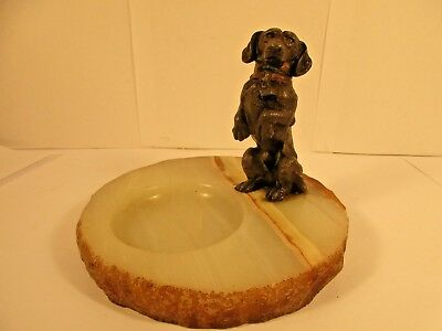 Vintage Marble Ashtray With solid metal Dachshund Dog Figurine