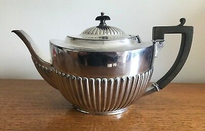 WM H & S silver-plated large teapot with wooden handle in great condition