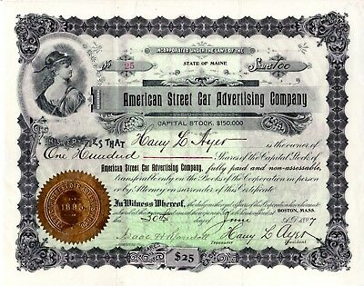 American Street Car Advertising Company of Maine 1897 Stock Certificate