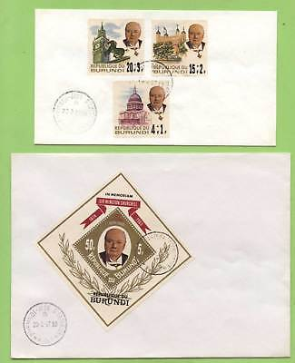 Burundi 1967 Churchill set & m/s on two plain First Day Covers