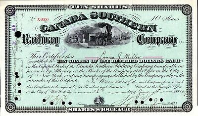 Canada Southern Railway Company of New York 1907 Stock Certificate - green