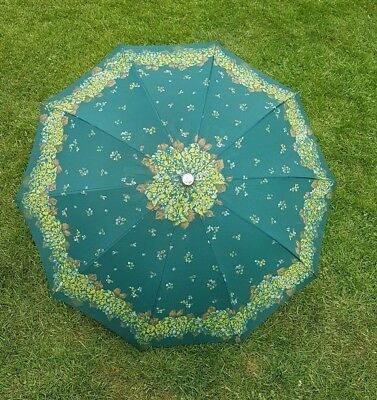 Beautiful Vintage Green Patterned Growy Women's Umbrella with Original Cover