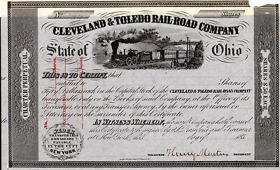 Cleveland and Toledo Rail Road Company of Ohio 1850's Stock Certificate - tear