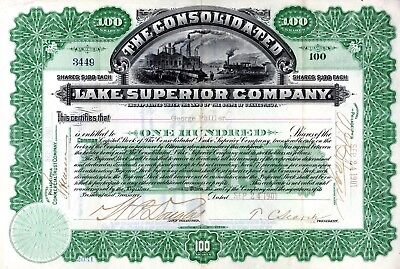 The Consolidated Lake Superior Company 1901 Stock Certificate - Railway plus