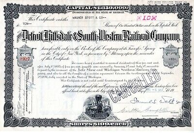 Detroit Hillsdale & South Western Railroad Company 1957 Stock Certificate