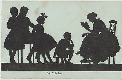 SILHOUETTE Mother Father READING to CHILDREN Fairy Tale PC Leipzig 1919