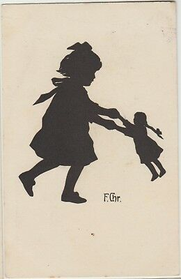 SILHOUETTE LITTLE GIRL with DOLLY Toy FANTASY Child Vintage German PC 1920