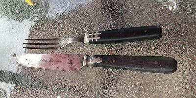 Set of 2 Wood handle three prong Forks Knife Wyoming Cutlery Co civil war era