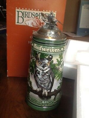 Anheuser Busch 1994 Birds of Prey GREAT HORNED OWL Stein  Made in Germany w/Box