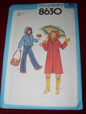🍄 1978 Uncirculated Simplicity #8630-Girls Two Length Hooded Coat Pattern 10 Ff