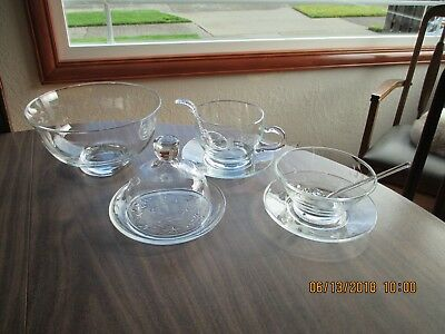 9 Piece Princess House Crystal  Heritage Butter Plate w/DomeLid, Condiment Dish