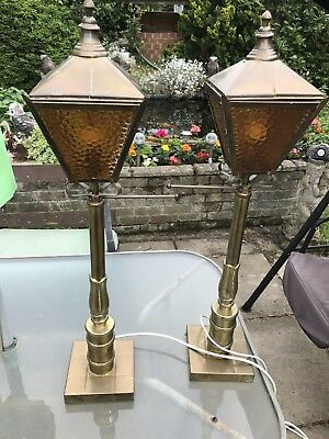 Pair Of Antique Brass Lamp / Lanterns Very Large Shop Sign Or Pub
