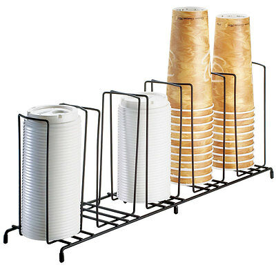 Cal-Mil 1233 5 Section Wire Rack Lid/Cup Organizer Black New