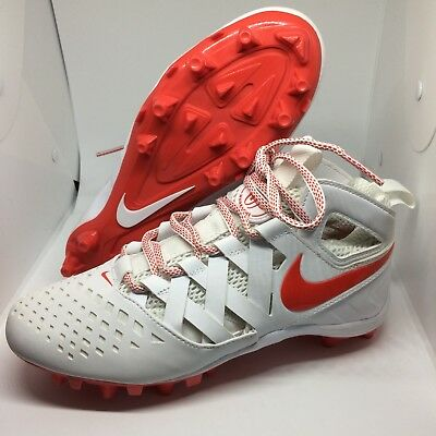 Nike Huarache V LAX Lacrosse Football Cleats White Red Size 5 Youth 807142-161
