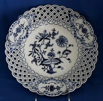 "Meissen Blue Onion Reticulated 10 7/8"" Dinner Plate Pierced Rim Crossed Swords"
