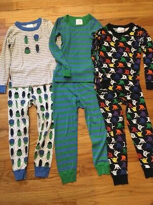 Hanna Andersson Boys size 110 5 Lot Of Pajamas 3 Pairs Stripes Bugs And Ghosts